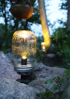 Solar Powered Mason Jar Lights - set of 3 Eco Friendly Summer Nights Renewable Outdoor Energy - Lawn and Garden Lights - BootsNGus Design