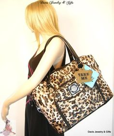 Kathy Van Zeeland Carry On Luggage XL Tote Purse Laptop Computer Bag Leopard NWT | eBay