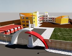 Modern School in new City of Qena Big Modern Houses, Sushant Singh, Entrance Ideas, Jobs Apps, New City, I School, School Projects, New Work, Buildings