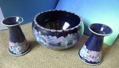 Vintage Studio Art Pottery Candlestick Candle Holder Bowl Set HandPainted marked