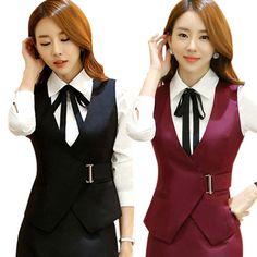 Ladies V Neck Vest Formal Waistcoat Office Work Uniform Buckle Sleeveless Jacket