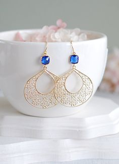 Cobalt Blue Earrings Gold Filigree Earrings Sapphire by LeChaim