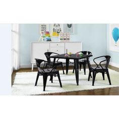 Better Homes And Gardens Kids; Metal Table With Set Of 2 Chairs, Black