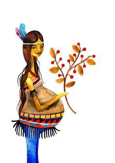 Native American Mother Print Illustration Watercolor Pregnancy Maternity Baby.  via Etsy.
