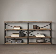 French library console table industrial ideas kitaplıklar ve Industrial Console Tables, Iron Console Table, Industrial Bookshelf, Industrial Office, Modern Industrial, Vintage Industrial, Industrial Design, Metal Furniture, Industrial Furniture