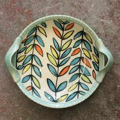 "avlpottery: ""Unloading some #serving #platters from las week's firing. #Loving the #orange pops of #color 🔥🔥🔥 @amacobrent #underglaze #madeinaskutt @skuttkilns #pottery #asheville #northcarolina #brushwork #ceramica #esmaltes #dibujos """