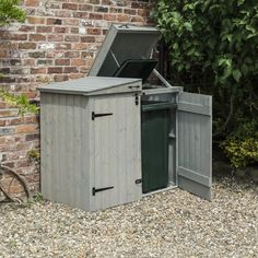 Heritage Apex Bin store Attractive storage for two wheelie bins tongue & groove fine sawn vertical cladding Apex style roof Lifting lids with chains to bin lids Easy access to bins Grey wash paint finish Made in Great Britain Dimension Triple Bin Store, Bin Store Garden, Sheds Direct, Bin Shed, Gates And Railings, Log Store, Storage Bins, Bin Storage Ideas Wheelie, Gardens