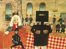 The Trial (1947): enamel on composition board; 90.7 x 121.2cm, National Gallery of Australia Sidney Nolan