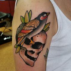tattoo @grubykruk #tattoo #skull #birdtattoo #tatuaz #grudziadz