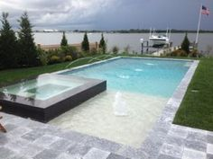 image result for rectangle pool spa center - Rectangle Pool With Spa