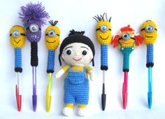 Crochet minion pencil cover