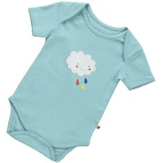 Piccalilly Blue Cloud Onesie - $24.95 - Comfortable, super soft, stylish and ADORABLE blue cloud onesie by Piccalilly!  Gorgeous short sleeve baby boys bodysuit features screen printed cloud and rain drops and envelope neckline and edges that are finished with a dainty picot trim.  #littlebooteek #organic #baby #boys #fashion #Piccalilly