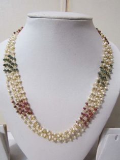 697497c61bf 3mm-Freshwater-Real-Pearls-Round-White-Glamorous-Six-Strings-Trendy-Necklace-Set.  Trendy Souk -SHOP!