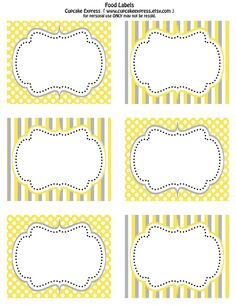 Free Printable Yellow and Grey food labels& Cupcake wrappers!!!