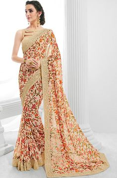 Peach Floral Georgette Saree features a dhupioni silk + georgette blouse alongside a floral georgette saree embellished with thread work lace. Note: The accessories shown on this product are not included. Latest Designer Sarees, Designer Dresses, Designer Wear, Indian Dresses, Indian Outfits, Anarkali Gown, Lehenga Choli, Georgette Sarees, Chiffon Saree