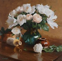 Arrangement with Roses & Lilies by Laurie Kersey Oil ~ 20 x 20