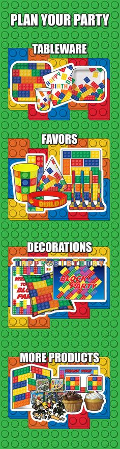 There's plenty of party products to help you plan your Lego themed birthday party. From tableware & favors to decorations & invitations, there's plenty to assemble a fun party that all the kids will love. Visit today: http://www.discountpartysupplies.com/boy-party-supplies/lego-city-party-supplies?utm_source=Pinterest&utm_medium=social&utm_content=PinterestImageBoard&utm_campaign=BlockPartyPromotedPin