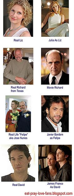 Eat, Pray, Love cast and their real life counterparts. Eat Pray Love Movie, Eat Pray Love Quotes, Liz Gilbert, Elizabeth Gilbert, Beau Film, Real People, Good People, Amazing People, Love Cast