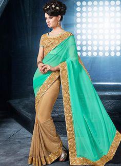 Turquoise & Dark Cream Georgette Sarees Online ,Veeshack.com   Fashion for the World - 1
