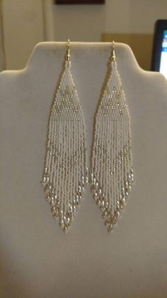 Earrings diy Native American Style Beaded White and Silver Wedding Earrings Shoulder Duster Boho, Southwestern, S Native American Style Beaded White and Silver Wedding Earrings Seed Bead Jewelry, Bead Jewellery, Seed Bead Earrings, Etsy Earrings, Hoop Earrings, Silver Earrings, Fringe Earrings, Jewellery Making, Silver Ring