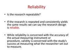 Reliability and validity quantitative research