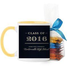 Graduation Masculine Mug, Yellow, with Ghirardelli Minis, 11 oz, Black