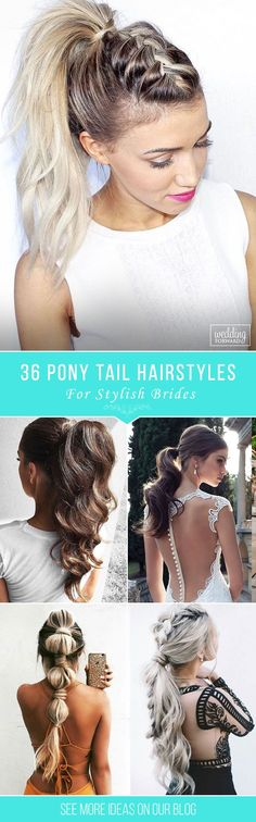 36 Party Perfect Pony Tail Hairstyles For Your Big Day ❤ Pony tail hairstyles are so cool. Pair it with your beautiful dress, and a wedding day atmosphere, and it becomes a gorgeous hairstyle, for a chic bride!See more: http://www.weddingforward.com/pony-tail-hairstyles/ #weddings #hairstyles