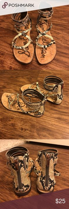 Sam Edelman Snakeskin Sandals Super cute and trendy sandals. Only worn a few times!! Sam Edelman Shoes Sandals