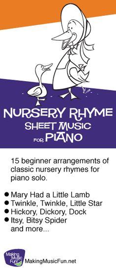 Free Nursery Rhyme Sheet Music for Beginner Piano Solo - MakingMusicFun.net