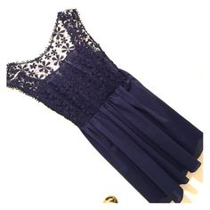 New Navy blue dress with see through and floral Navy blue dress with see through and floral Dresses
