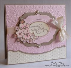 handmade Mother's Day card ... love the pink, cream and kraft combo ... Bordering Romance ... Stampin' Up!