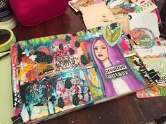 I feel like I've been working on this spread forever. In fact, it went  through a period of me absolutely hating it before I came out on the other  side with a spread I love!   I layered spray paint, ink, acrylics, collage, and paint pens to make this  spread.    Lately, I'm loving finding figures in magazines and using them to express  the emotions I'm feeling. While I draw original work, allowing myself to  find a reflection of how I'm feeling and work over it in my art journal has…