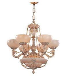 Crystorama Natural Alabaster 9 Light French White Chandelier