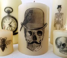 SewforSoul: Halloween DIY Printed Candles - Love the Steampunk Skeletons and they look so easy to make! SewforSoul: Halloween DIY Printed Candles - Love the Steampunk Skeletons and they look so easy to make! Halloween Birthday, Holidays Halloween, Halloween Crafts, Happy Halloween, Halloween Decorations, Voodoo Halloween, Candle Decorations, Group Halloween, Halloween 2019