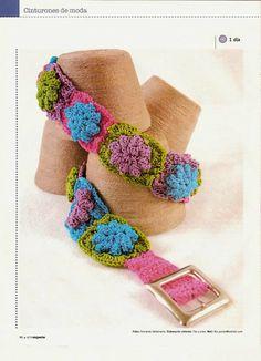 Patrones Crochet: Cinturon Crochet de Flores