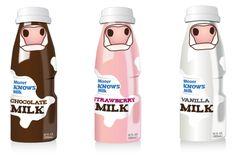Schattige melkflesjes #Melk #verpakking #Packaging #Design #Cow #Koe