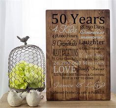 Anniversary gift, personalized anniversary gift, parents anniversary, gift for parents, parents anniversary, custom anniversary gift **** Personalized 50th anniversary gift (example). This custom print with information about your parents and your family makes a very nice addition to any house and will sure be appreciated by any parents, especially your mom! ***INFORMATION I WILL NEED FROM YOU**** -Number of years married -Number of kids -Number of grandkids and great grandkids if any -Number ...