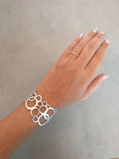 Silver Bracelet, Sterling Silver Bracelet, Circle Braclete, Silver Cuff, Wedding Jewellery, Bridal Jewelry, Gift For Her, By Hila Assa