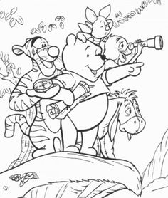 free Winnie the pooh and friends coloring pages