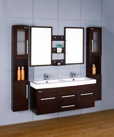 Bathroom Small Design Interior Ikea Bathrooms Bright Blue And Brown Decorating Ideas Of Small Ikea Bathrooms With Nice Bathtub And Double Sink On Floating Vanity With Wooden Storage Door And Chic Blinds