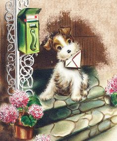 Vintage greeting card ~ dog with letter