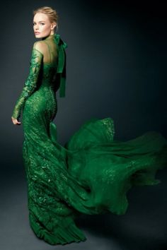 Emerald green evening gown, Kate Bosworth, editorial
