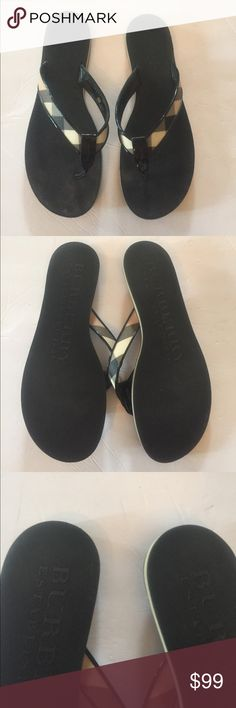 Burberry Nova Check Black Flip Flop Thongs Great condition, gently worn a handful of times Burberry Shoes Sandals