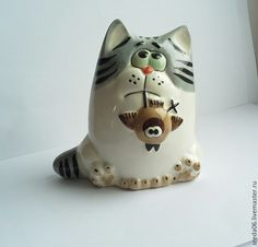 коты - серия Охотники - оранжевый,фигурка кота,кот керамический,коты и кошки