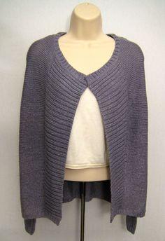CHICO'S Women Size 1 Purple Lavender Plum Frost Radiance Drape Cardigan Sweater  #Chicos #DrapeCardigan