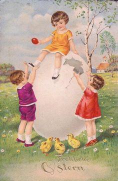 Image ancienne Joyeuses Pâques                                                                                                                                                                                 Plus