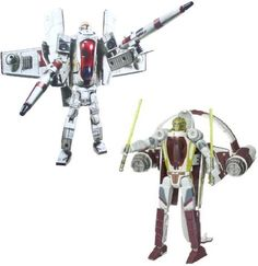 Star Wars Transformers Crossovers Blockbuster 2 Pack 7 Inch Tall Figure Set  Clone Pilot to Republic Gunship with 2 Missile Launcher and Kit Fisto to Jedi Starfighter with 2 Lightsabers >>> Click image for more details.Note:It is affiliate link to Amazon.