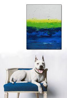 30 X 40 Large ORIGINAL Abstract Art white blue green door julieahmad