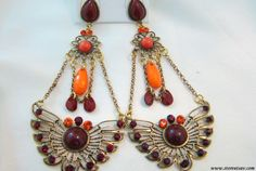 Earrings Chandelier with Brown & Orange Beads and Engraved Oxidized Metal Work by Store Utsav on Etsy!