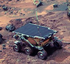 Sojourner rover at work after embarking from NASA's Mars Pathfinder spacecraft.